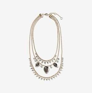 Express| Three Row Crystal Statement Necklace